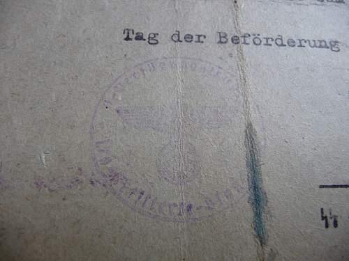 promotion document for 1./ss-Leibstandarte?