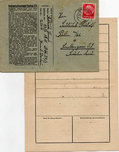 Concentration Camp Letters and Receipt