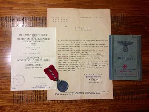 Document grouping to Franz Keusen. Gefallen, 15/12/1941