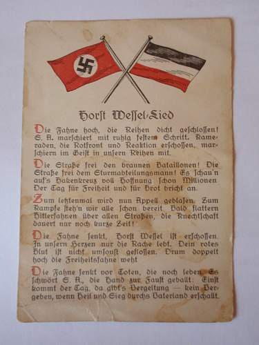 Song Card- Horst Wessel in nice condition