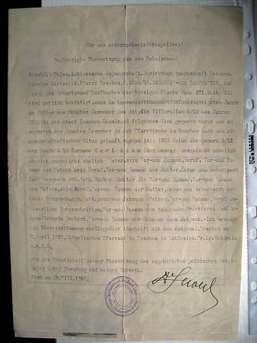 Ariernachweis - Aryan certificate?