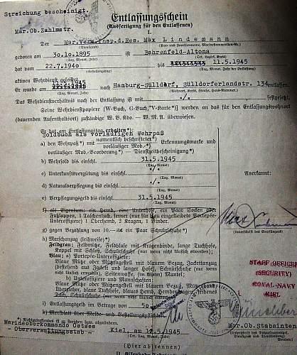 Kriegsmarine document 1945