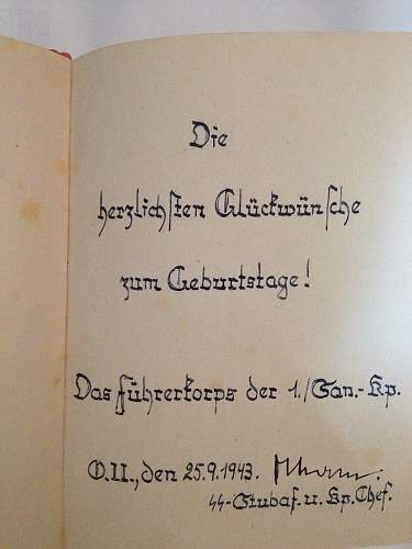 Paris tour book, SS inscription