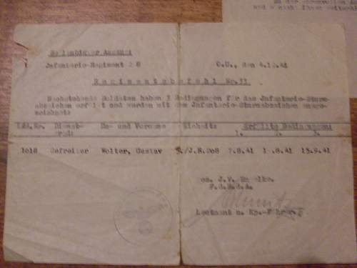 Inf regt/ 208 documents/feldposts.(opinions)