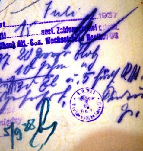 German stamp + writing