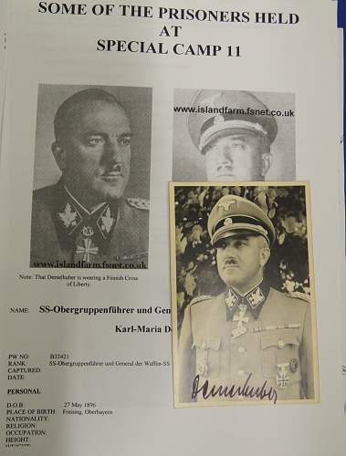SS General Demelhuber Signed Photo Wartime / Postwar ?