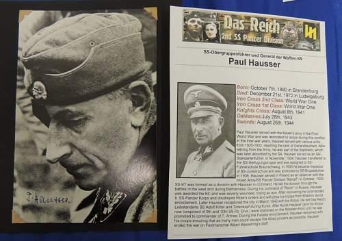 SS General Paul Hausser Wartime / Postwar Signed