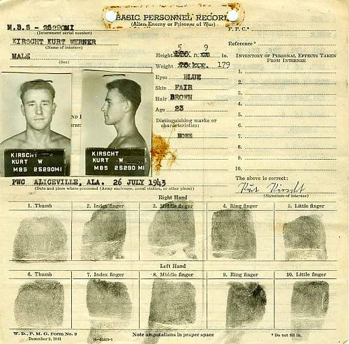 German POW  Record from US Internment camp