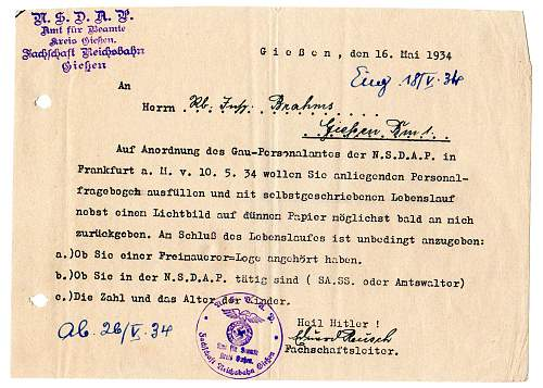 Translation help with NSDAP letter 1934, please.