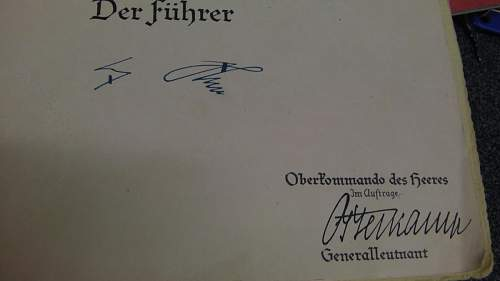 Promotion Document signed by Von Blomberg