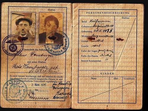 German passport with Kommandant stamp - 1935
