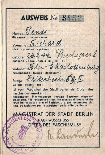 ID Card w Photo issued in Berlin in 1946 for a Child Victim of Fascism