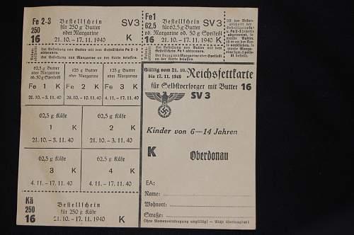 German 1940 ration card