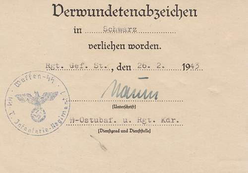 SS Officer Totenkopf Award document
