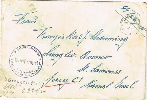 SS feldpost to Jersey, Channel Islands.