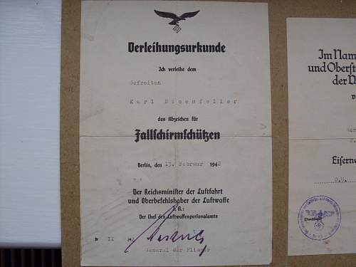 Fallschirmjager award documents