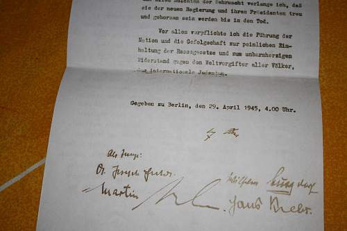 hitler political testament with signatures from the chiefes of state Hitler,bormman goebbels etc....