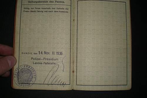 Freie Stadt Danzig Reise-Pass