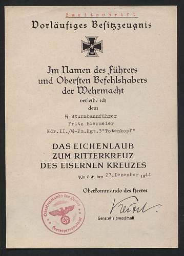 Das Eichenlaub zum Ritterkreuz Urkunde