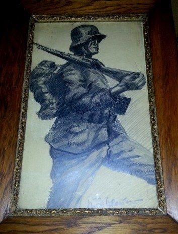 Original drawing of a German soldier but how common are these?
