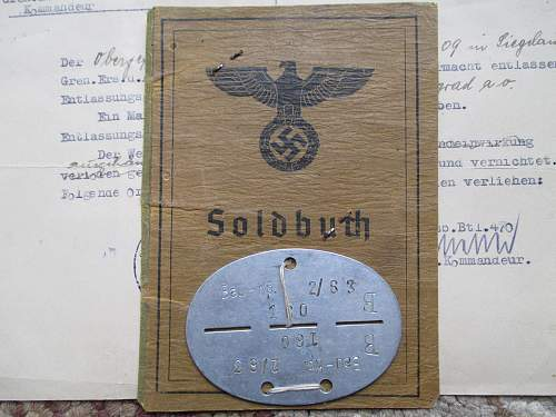 Soldbuch Cover, ID disc and release letter lot