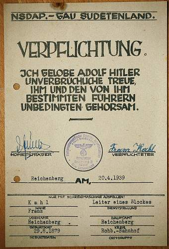 NOW COMMITTED TO THE LEADER Adolf Hitler FORM m/0645