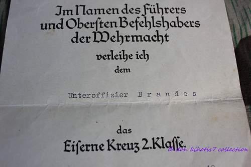 EKII Urkunde with Receiver's Photo