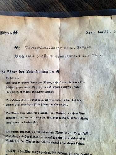 SS Sturmbannfuherer Fritz Totenkopfring award document