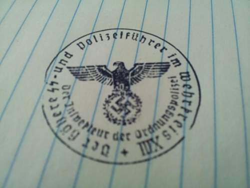 I.D. Needed  for Higher SS and Police District XIII / Inspector of Order Police document stamp...