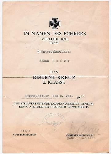 SS Award documents EK2 and VA Schwarz