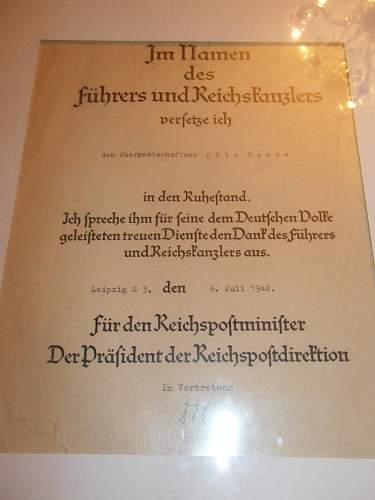 Ww2 german postal promotion certificate????