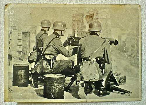 SS / Police Postcard: MG position overlooking Warsaw