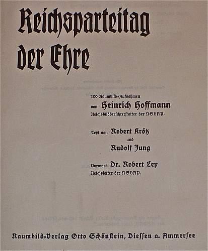 BOOK: Reichsparteitag Der Ehre; 1936