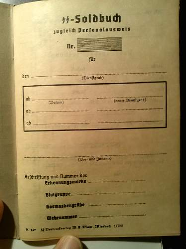 Authentic? unissued SS Soldbuch zugleich Personalausweis and SS Ausweis