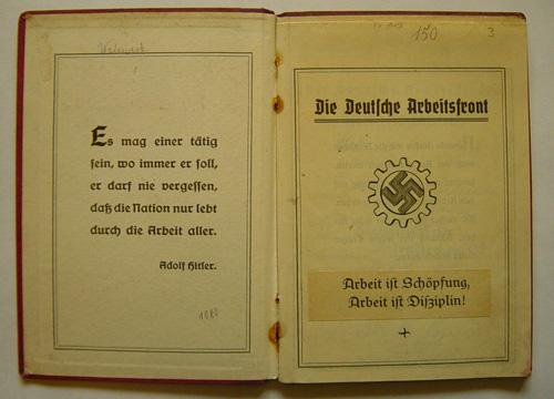 Deutscher Arbeitsfront Mitgliedsbuch