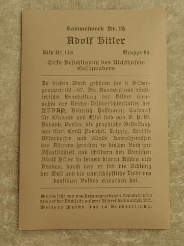 Click image for larger version.  Name:Sammelwerk nr 15 Adolf Hitler Bild nr 188 Gruppe 64 back.jpg Views:219 Size:117.8 KB ID:614252