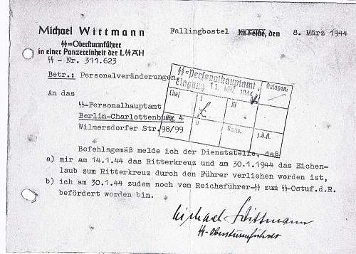 Opinions on this Michael Wittmann letter