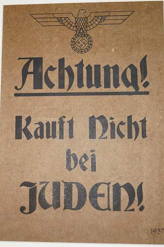 """Poster """"Achtung! Kauft nicht bei Juden!"""""""