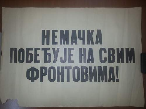 Very rare WWII German ocupation poster in Serbian language