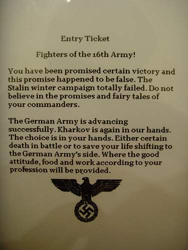 German propaganda leaflets for Soviet 16th Army troops. Found by forum member Datrus.