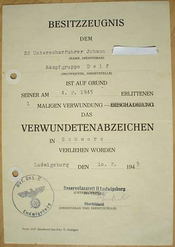 Document of an Waffen-SS Waterfinder