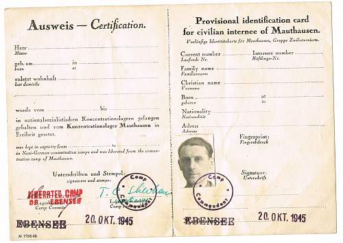 Blank I.D. card ftom Mauthausen for civilian