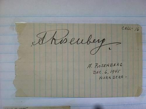 Click image for larger version.  Name:Alfred Ernst Rosenberg Nuremberg Trials Cell 16 1st autograph.jpg Views:376 Size:148.3 KB ID:674695