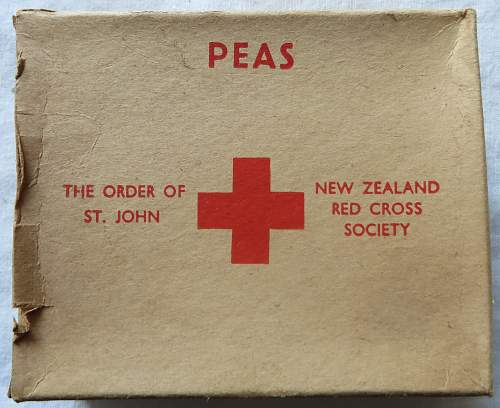 Red Cross ffod parcel boxes and contents