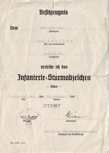Infanterie sturmabzeichen grouping