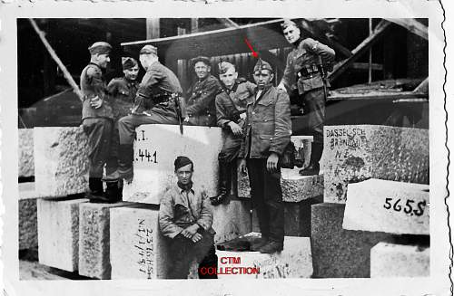 Is this a Spanish Blue Division soldier with men of the Waffen SS?