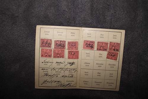 RDB beitragskarte 1934 and DRL mitgliedskarte 1935