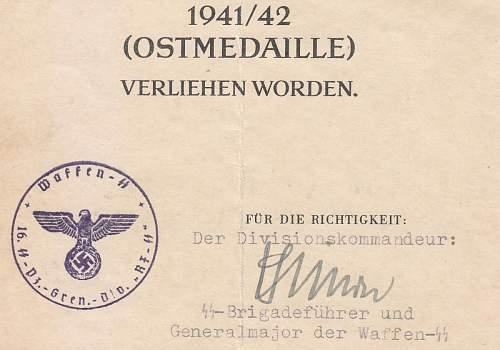 Ostmedal award document