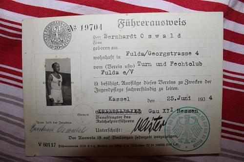 zoologischer garten Berlin 1941 stammkarte /turn und fechtclub fuhrerausweis 1934