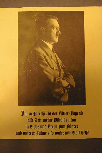 HJ membership certificate, commemorative for Hitler's birthday